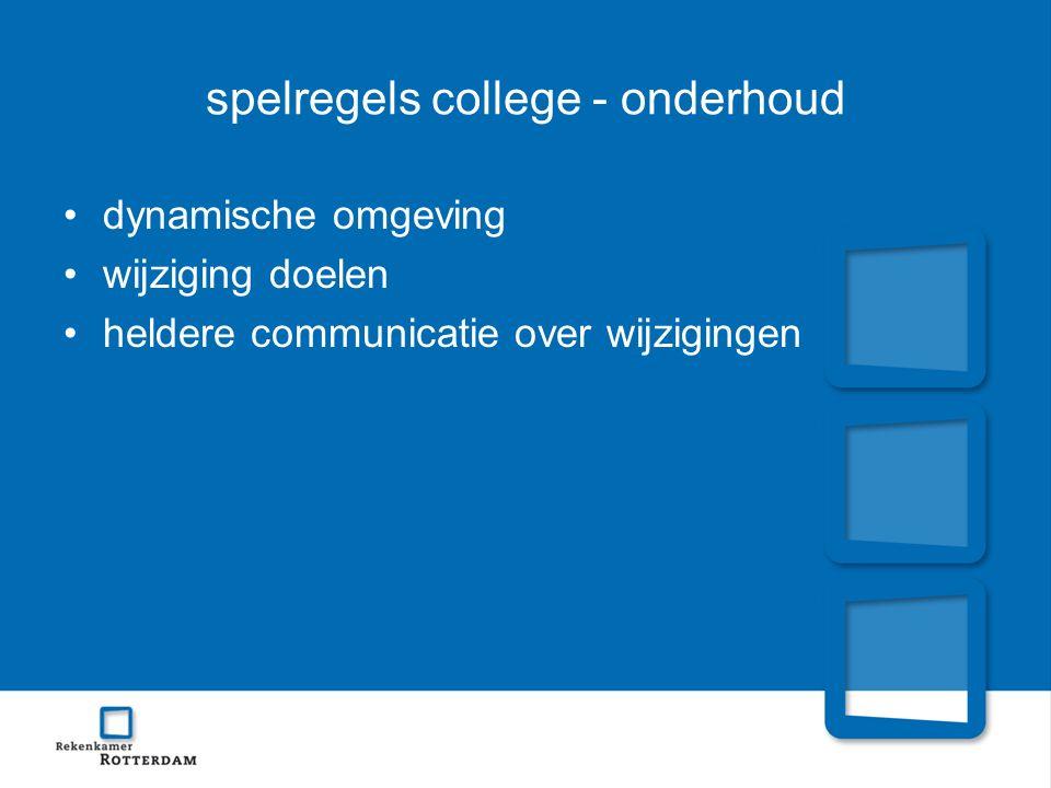 spelregels college - onderhoud dynamische omgeving wijziging doelen heldere communicatie over wijzigingen