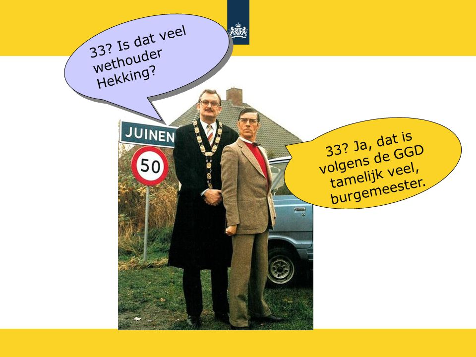 33 Is dat veel wethouder Hekking 33 Ja, dat is volgens de GGD tamelijk veel, burgemeester.