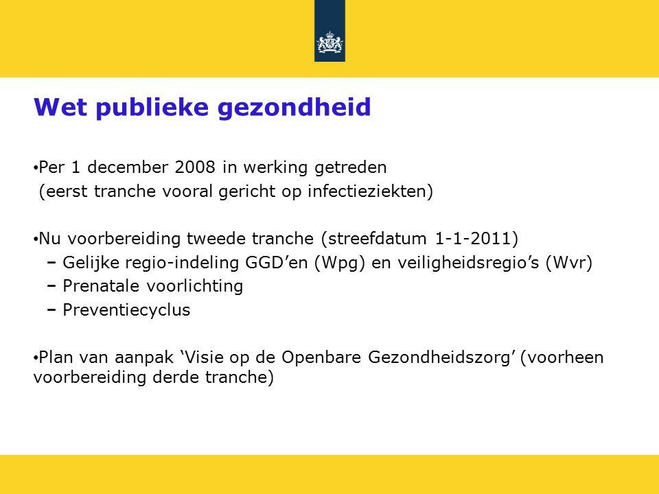 Wet publieke gezondheid Per 1 december 2008 in werking getreden (eerst tranche vooral gericht op infectieziekten) Nu voorbereiding tweede tranche (streefdatum 1-1-2011) Gelijke regio-indeling GGD'en (Wpg) en veiligheidsregio's (Wvr) Prenatale voorlichting Preventiecyclus Plan van aanpak 'Visie op de Openbare Gezondheidszorg' (voorheen voorbereiding derde tranche)