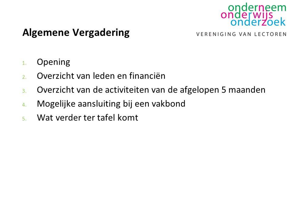 Algemene Vergadering 1. Opening 2. Overzicht van leden en financiën 3. Overzicht van de activiteiten van de afgelopen 5 maanden 4. Mogelijke aansluiti