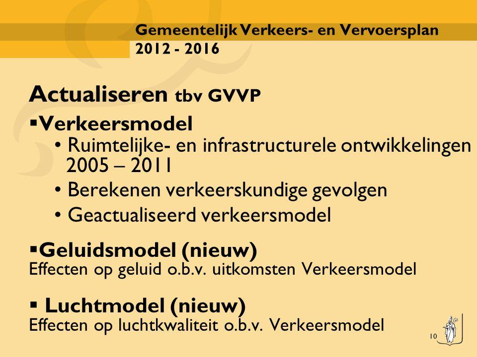 10 Gemeentelijk Verkeers- en Vervoersplan 2012 - 2016 Actualiseren tbv GVVP  Verkeersmodel Ruimtelijke- en infrastructurele ontwikkelingen 2005 – 201