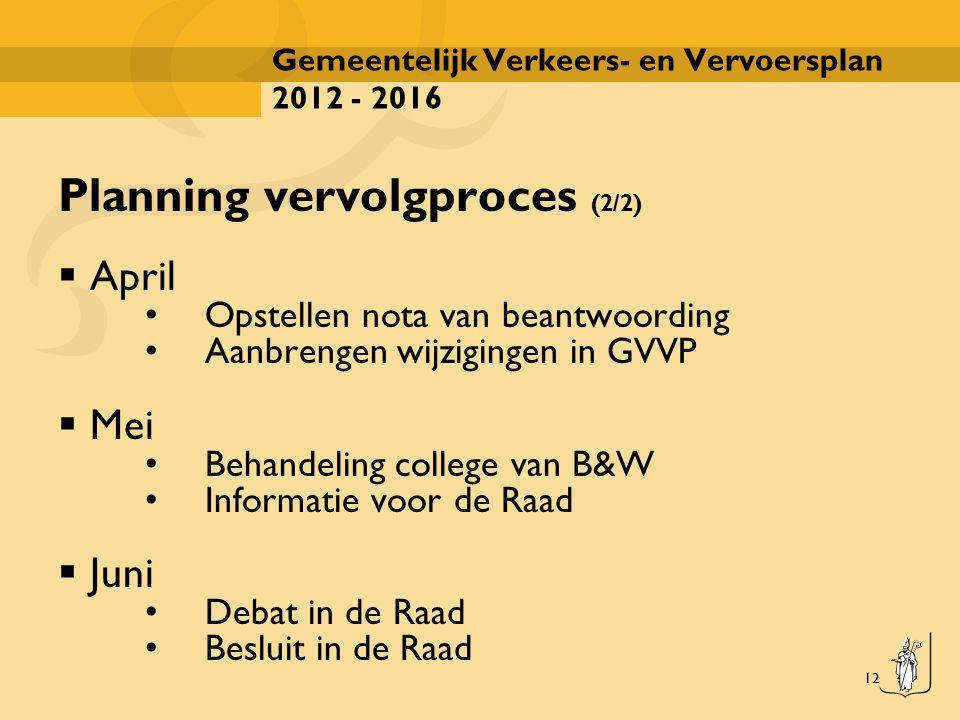 12 Gemeentelijk Verkeers- en Vervoersplan 2012 - 2016 Planning vervolgproces (2/2)  April Opstellen nota van beantwoording Aanbrengen wijzigingen in