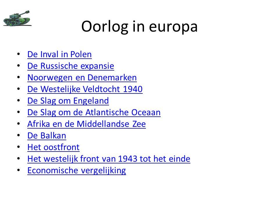 Oorlog in europa De Inval in Polen De Russische expansie Noorwegen en Denemarken De Westelijke Veldtocht 1940 De Slag om Engeland De Slag om de Atlant