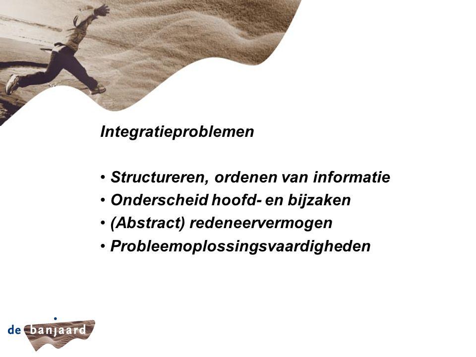 Integratieproblemen Structureren, ordenen van informatie Onderscheid hoofd- en bijzaken (Abstract) redeneervermogen Probleemoplossingsvaardigheden