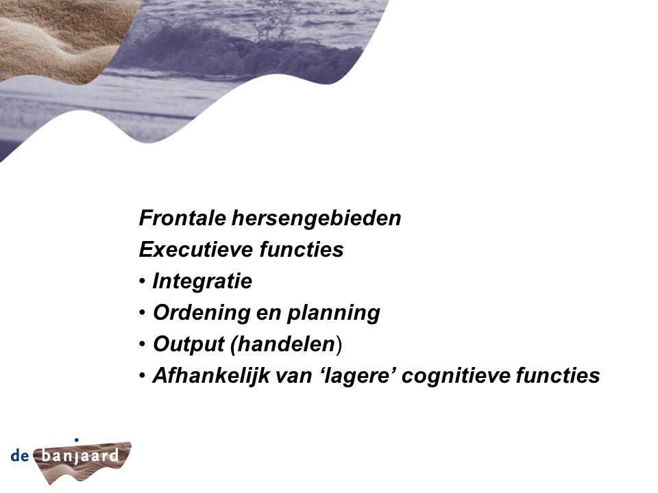 Capaciteit Frontale hersengebieden Executieve functies Integratie Ordening en planning Output (handelen) Afhankelijk van 'lagere' cognitieve functies
