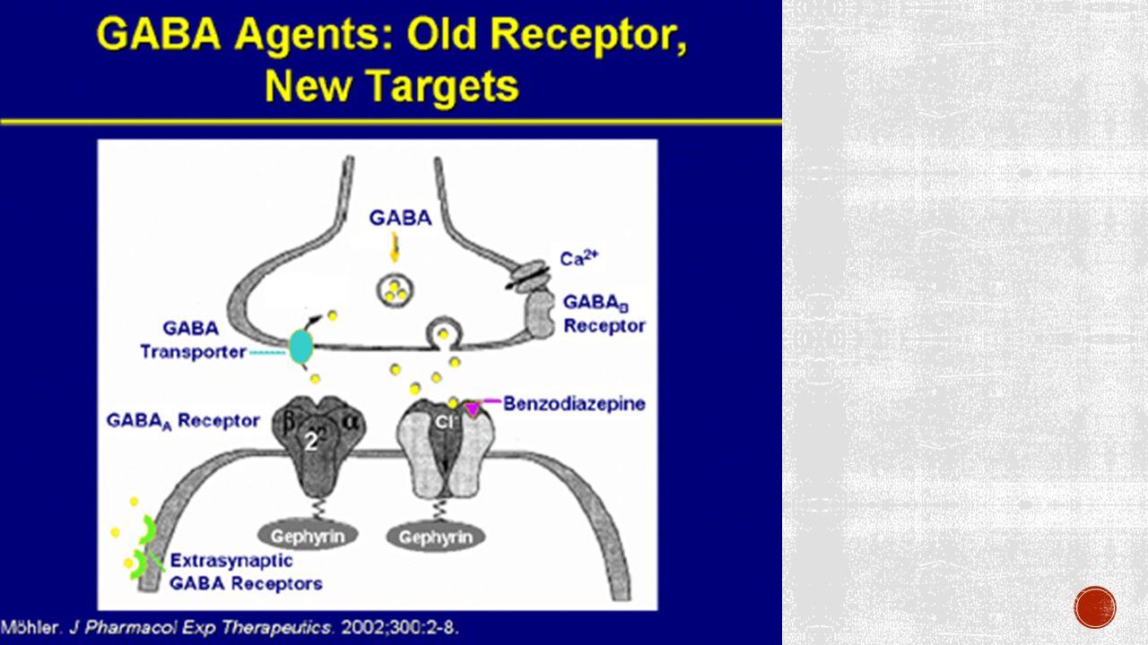  Binding van GABA: opening van Cl- kanaal, meer instroom van Cl-, verminderde exciteerbaarheid  Benzodiazepenis kunnen op en deel van de receptoren goed binnen; deze subtypes van receptor komen voor in bepaalde hersengebieden  Wanneer benzo' s binden, verandert de vorm van de receptor waardoor GABA beter bindt.