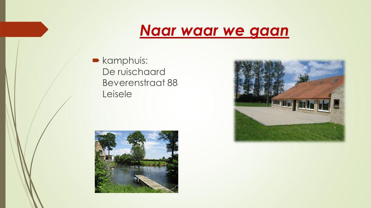 Naar waar we gaan  kamphuis: De ruischaard Beverenstraat 88 Leisele