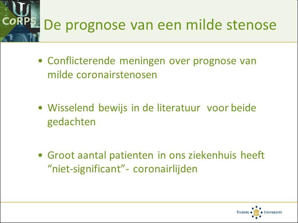 De prognose van een milde stenose Conflicterende meningen over prognose van milde coronairstenosen Wisselend bewijs in de literatuur voor beide gedach