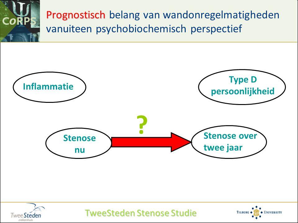 Prognostisch Prognostisch belang van wandonregelmatigheden vanuiteen psychobiochemisch perspectief Type D persoonlijkheid Inflammatie Stenose nu Steno