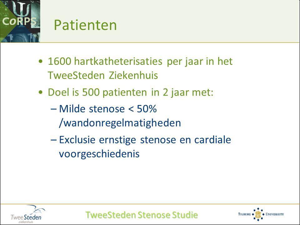 Patienten 1600 hartkatheterisaties per jaar in het TweeSteden Ziekenhuis Doel is 500 patienten in 2 jaar met: –Milde stenose < 50% /wandonregelmatighe