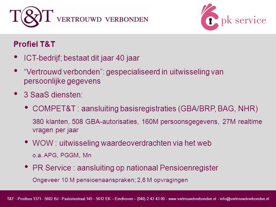 T&T - Postbus 1371 - 5602 BJ - Pastoriestraat 145 - 5612 EK – Eindhoven – (040) 2 43 43 00 - www.vertrouwdverbonden.nl - info@vertrouwdverbonden.nl Profiel T&T ICT-bedrijf; bestaat dit jaar 40 jaar Vertrouwd verbonden : gespecialiseerd in uitwisseling van persoonlijke gegevens 3 SaaS diensten: COMPET&T : aansluiting basisregistraties (GBA/BRP, BAG, NHR) 380 klanten, 508 GBA-autorisaties, 160M persoonsgegevens, 27M realtime vragen per jaar WOW : uitwisseling waardeoverdrachten via het web o.a.
