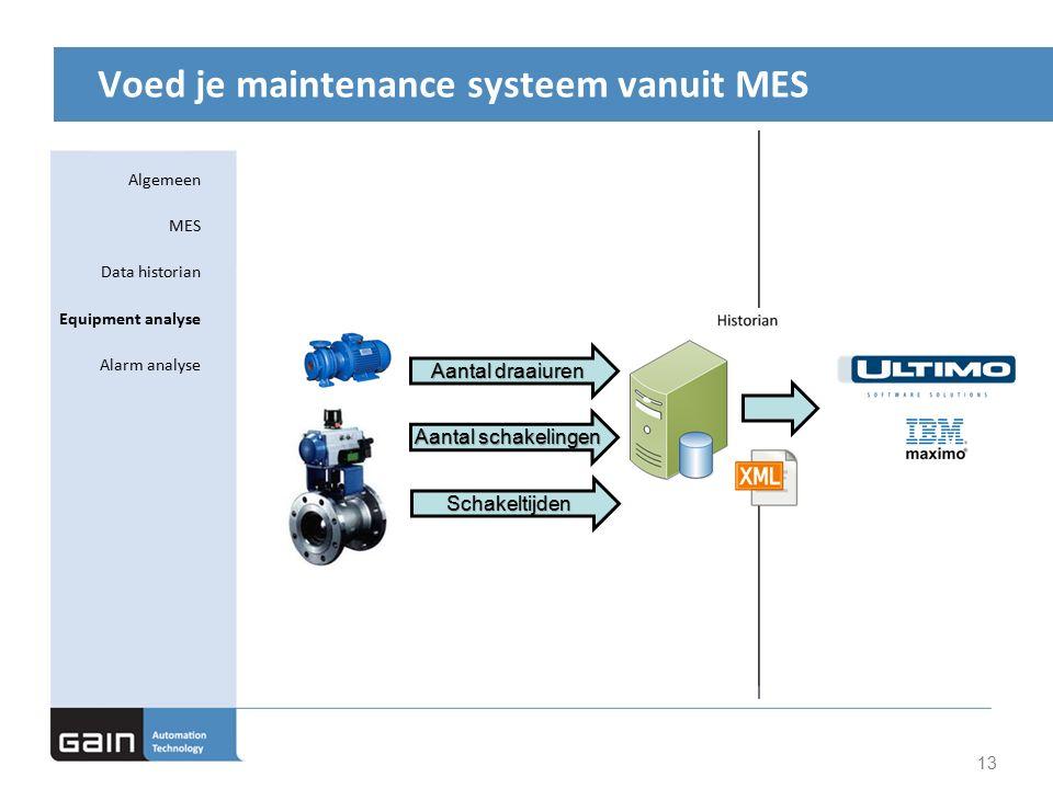 Voed je maintenance systeem vanuit MES 13 Aantal schakelingen Aantal draaiuren Schakeltijden Algemeen MES Data historian Equipment analyse Alarm analyse