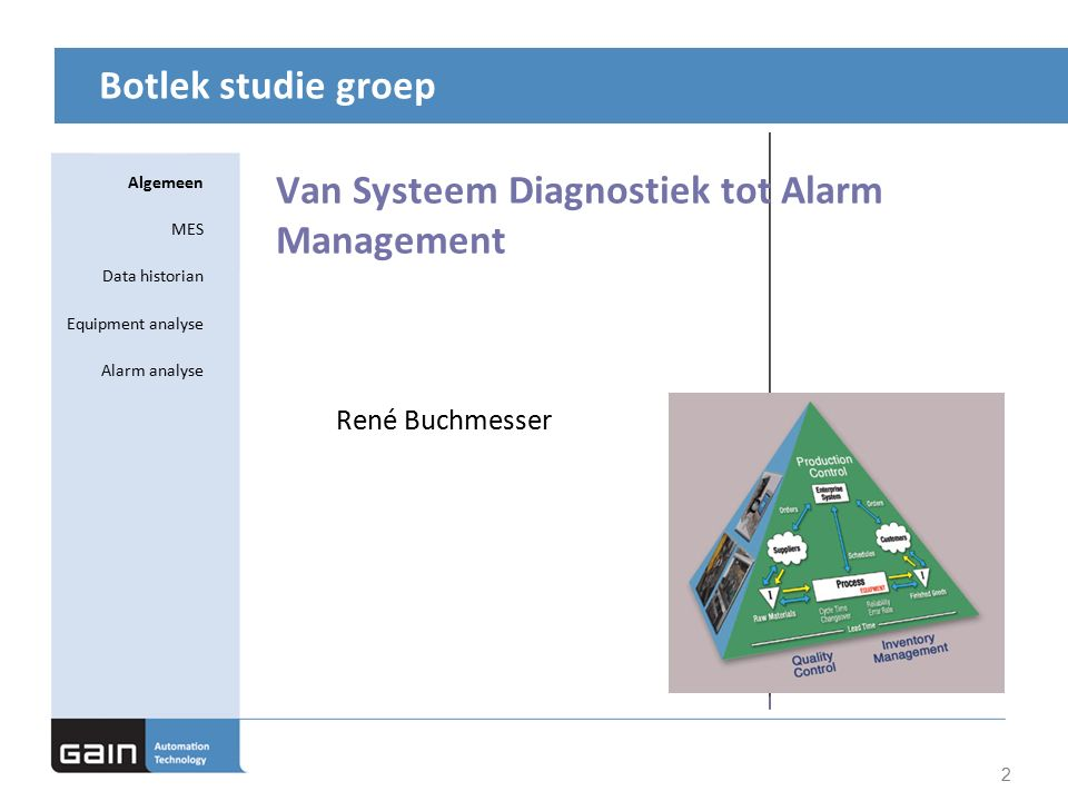 Botlek studie groep Van Systeem Diagnostiek tot Alarm Management 2 René Buchmesser Algemeen MES Data historian Equipment analyse Alarm analyse