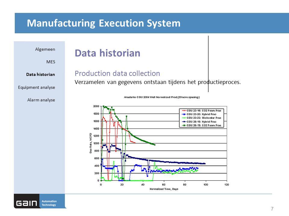 Manufacturing Execution System Data historian Production data collection Verzamelen van gegevens ontstaan tijdens het productieproces.