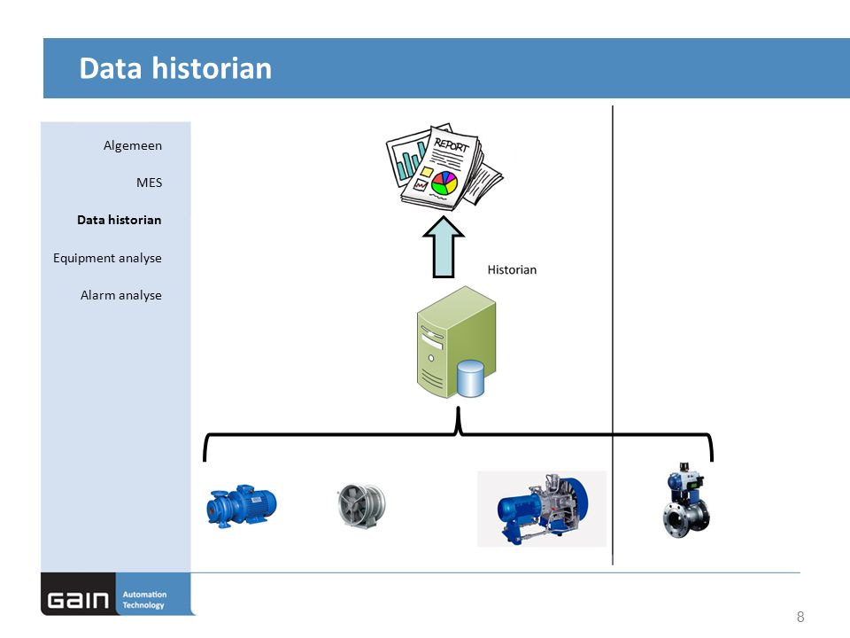 Data historian 8 Algemeen MES Data historian Equipment analyse Alarm analyse