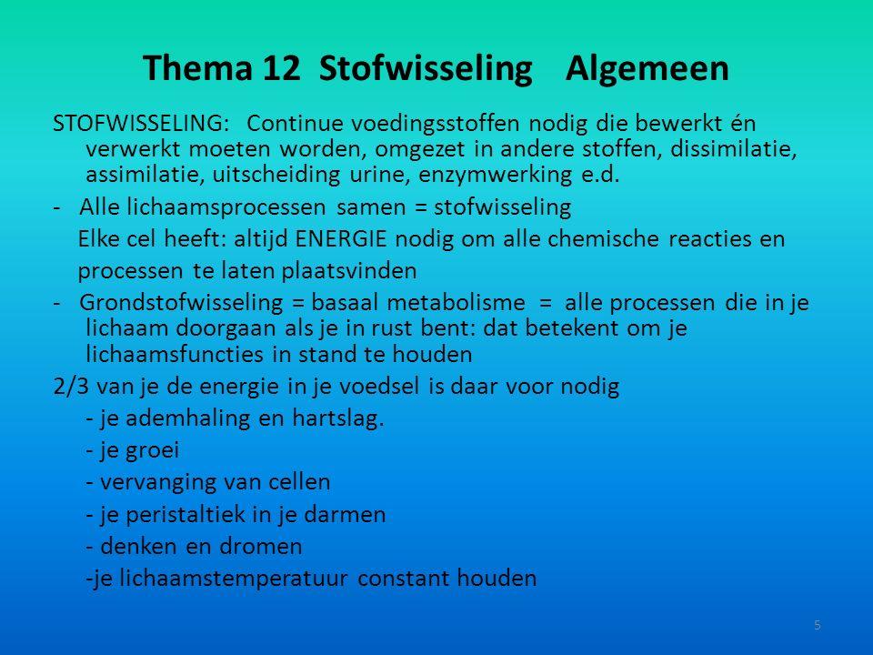 Thema 12 Stofwisseling Algemeen STOFWISSELING: Continue voedingsstoffen nodig die bewerkt én verwerkt moeten worden, omgezet in andere stoffen, dissim