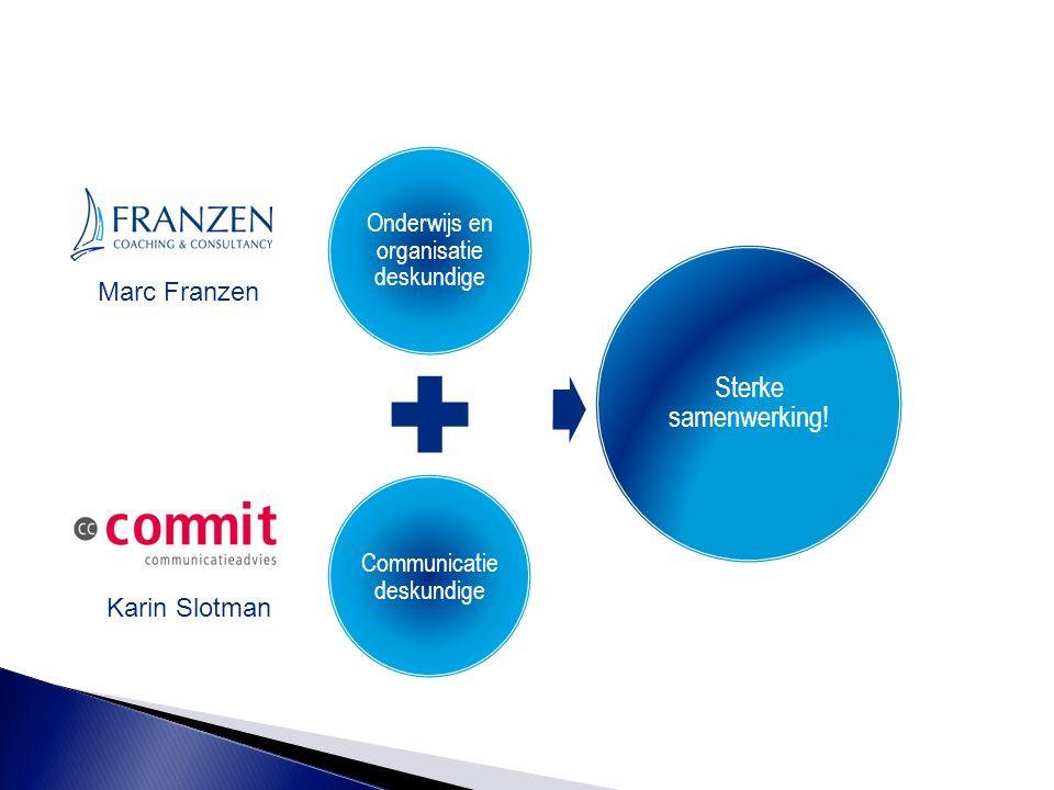 Onderwijs en organisatie deskundige Communicatie deskundige Sterke samenwerking! Marc Franzen Karin Slotman