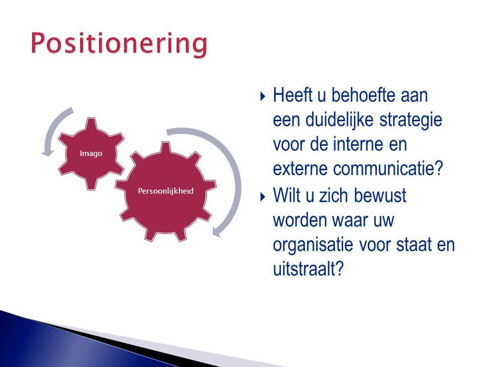  Heeft u behoefte aan een duidelijke strategie voor de interne en externe communicatie?  Wilt u zich bewust worden waar uw organisatie voor staat en