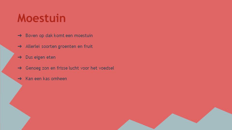 Moestuin ➔ Boven op dak komt een moestuin ➔ Allerlei soorten groenten en fruit ➔ Dus eigen eten ➔ Genoeg zon en frisse lucht voor het voedsel ➔ Kan een kas omheen