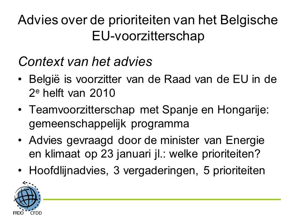 Context van het advies België is voorzitter van de Raad van de EU in de 2 e helft van 2010 Teamvoorzitterschap met Spanje en Hongarije: gemeenschappelijk programma Advies gevraagd door de minister van Energie en klimaat op 23 januari jl.: welke prioriteiten.