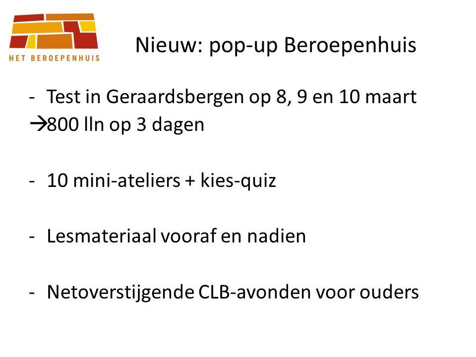 Nieuw: pop-up Beroepenhuis -Test in Geraardsbergen op 8, 9 en 10 maart  800 lln op 3 dagen -10 mini-ateliers + kies-quiz -Lesmateriaal vooraf en nadien -Netoverstijgende CLB-avonden voor ouders