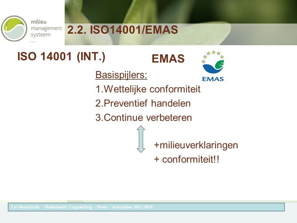 Herneming van de titel van de presentatieAuteur van de presentatie ISO 14001(INT.) Basispijlers: 1.Wettelijke conformiteit 2.Preventief handelen 3.Con