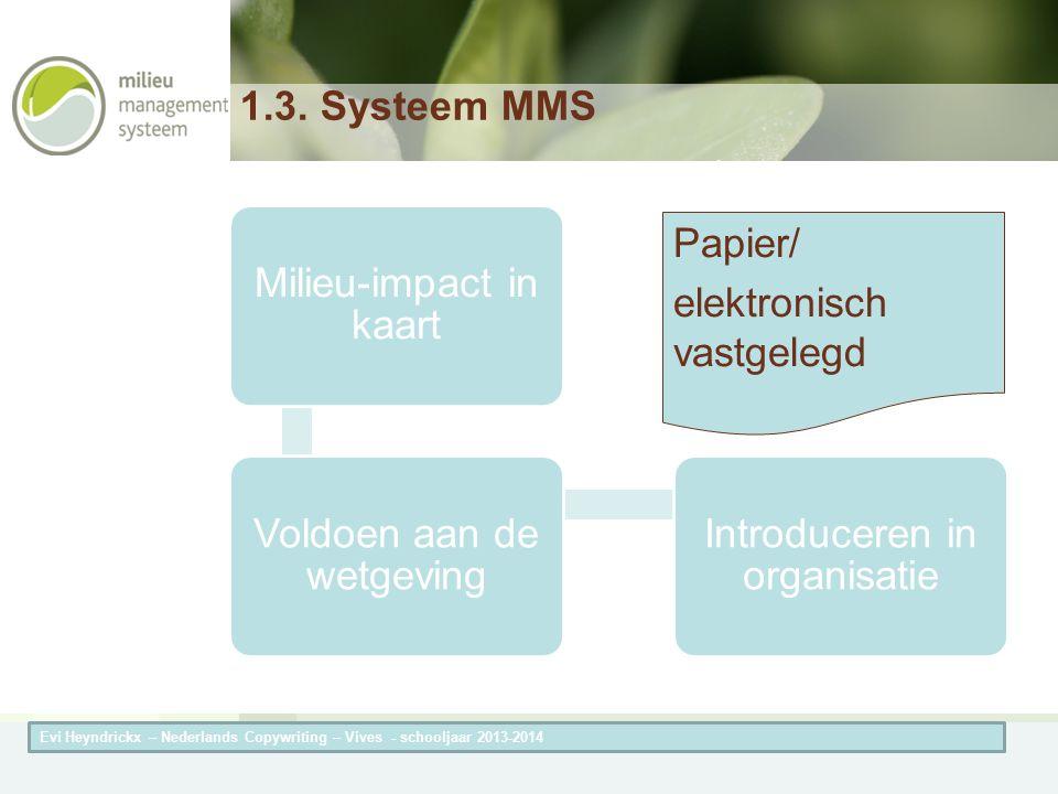 Herneming van de titel van de presentatieAuteur van de presentatie 1.3. Systeem MMS Milieu-impact in kaart Voldoen aan de wetgeving Introduceren in or