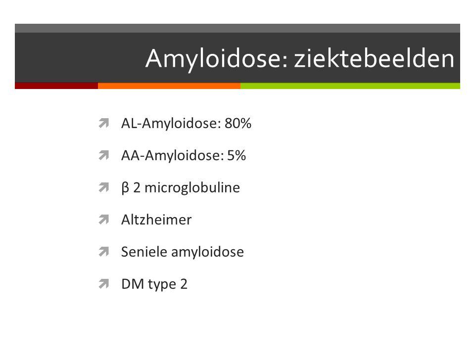 Amyloidose: ziektebeelden  AL-Amyloidose: 80%  AA-Amyloidose: 5%  β 2 microglobuline  Altzheimer  Seniele amyloidose  DM type 2