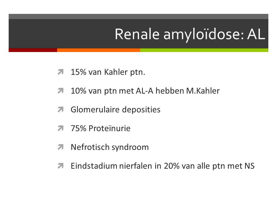 Renale amyloïdose: AL  15% van Kahler ptn.