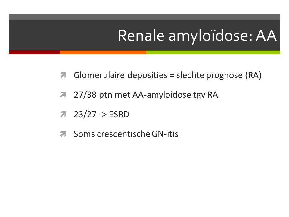 Renale amyloïdose: AA  Glomerulaire deposities = slechte prognose (RA)  27/38 ptn met AA-amyloidose tgv RA  23/27 -> ESRD  Soms crescentische GN-itis