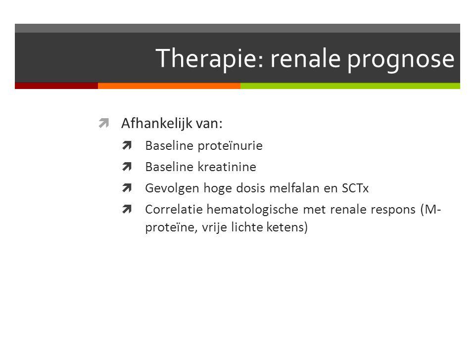 Therapie: renale prognose  Afhankelijk van:  Baseline proteïnurie  Baseline kreatinine  Gevolgen hoge dosis melfalan en SCTx  Correlatie hematologische met renale respons (M- proteïne, vrije lichte ketens)