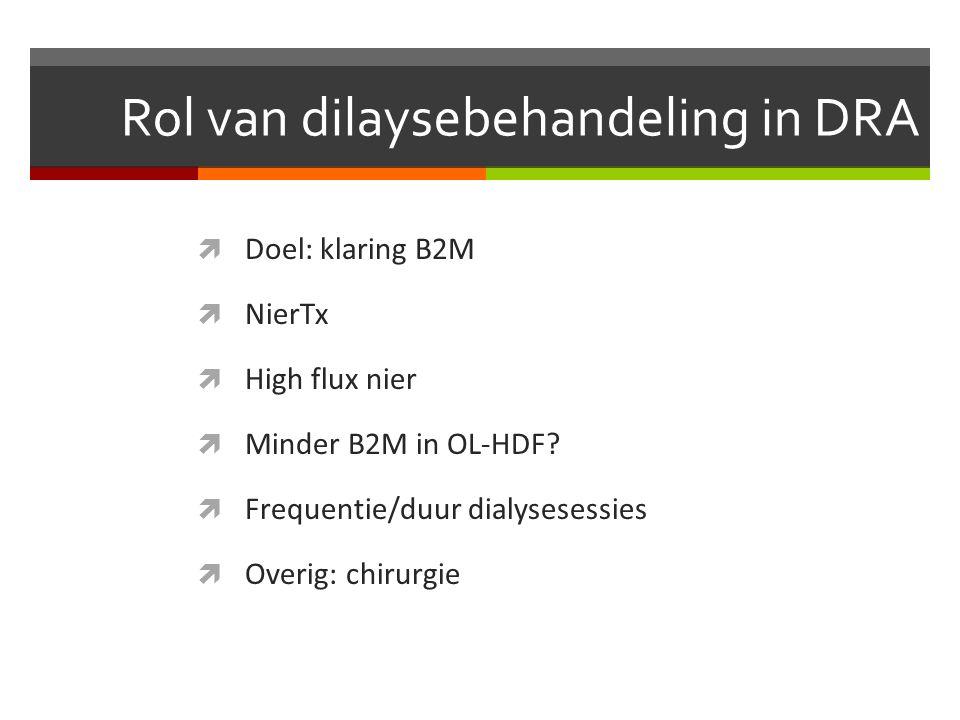 Rol van dilaysebehandeling in DRA  Doel: klaring B2M  NierTx  High flux nier  Minder B2M in OL-HDF.