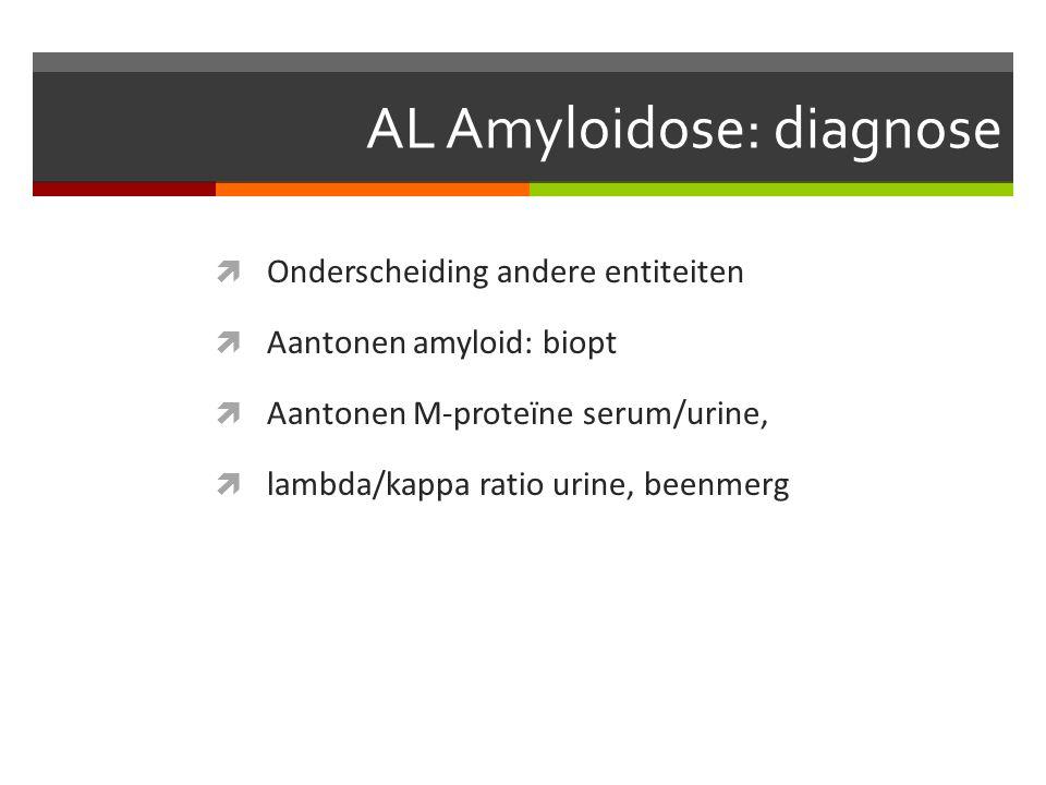 AL Amyloidose: diagnose  Onderscheiding andere entiteiten  Aantonen amyloid: biopt  Aantonen M-proteïne serum/urine,  lambda/kappa ratio urine, beenmerg