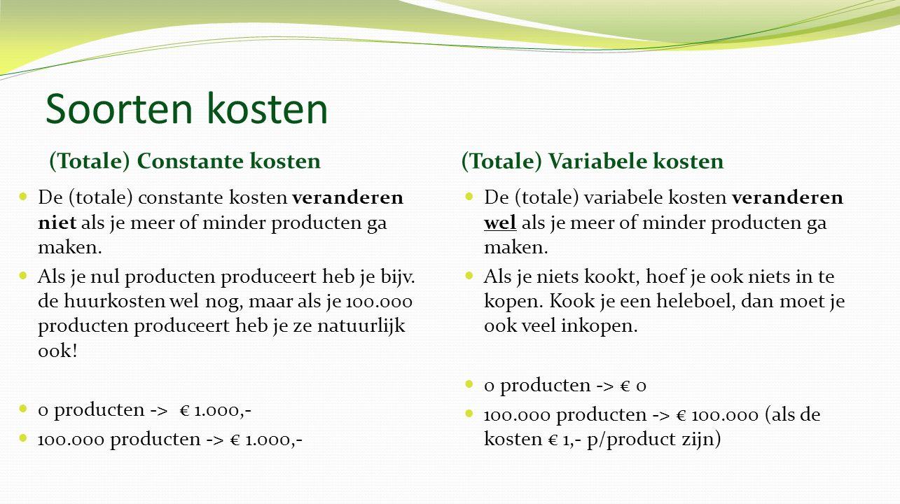 Soorten kosten (Totale) Constante kosten (Totale) Variabele kosten De (totale) constante kosten veranderen niet als je meer of minder producten ga maken.