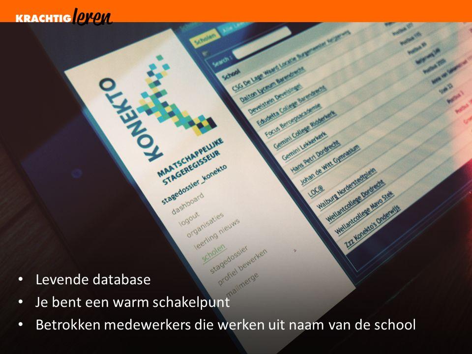 Levende database Je bent een warm schakelpunt Betrokken medewerkers die werken uit naam van de school