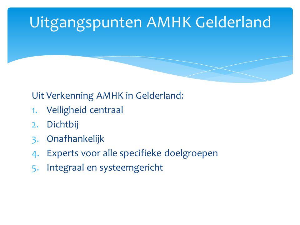 Uit Verkenning AMHK in Gelderland: 1.Veiligheid centraal 2.Dichtbij 3.Onafhankelijk 4.Experts voor alle specifieke doelgroepen 5.Integraal en systeemg