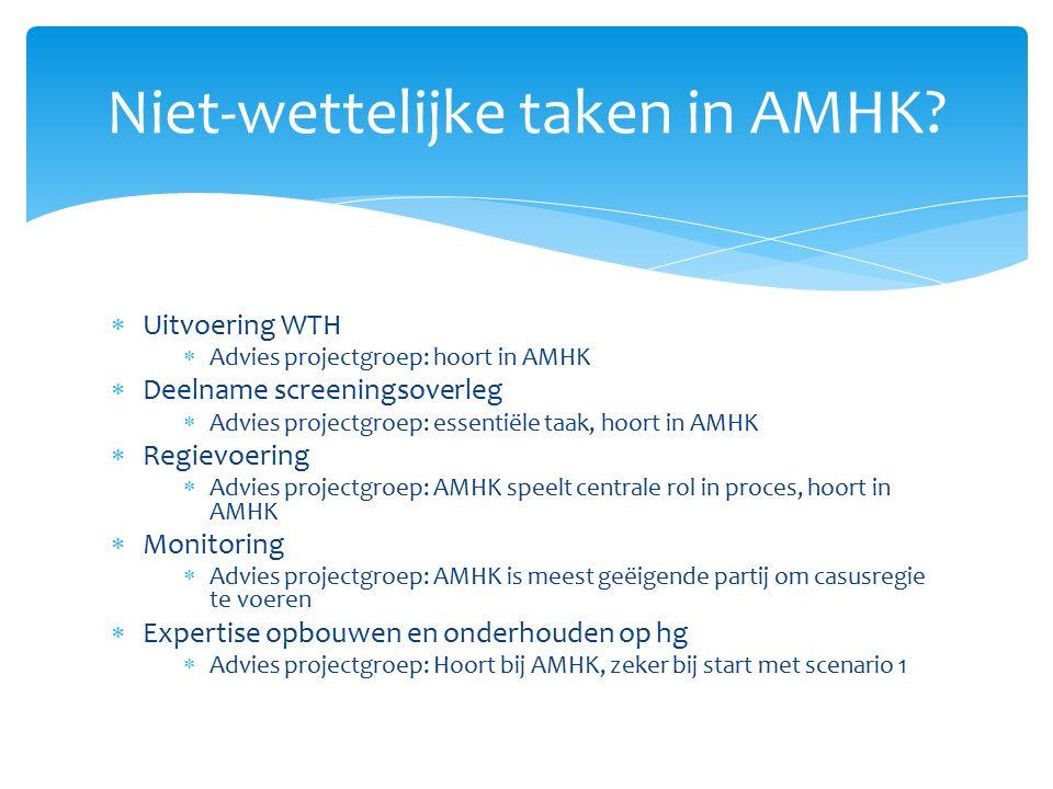 Niet-wettelijke taken in AMHK?  Uitvoering WTH  Advies projectgroep: hoort in AMHK  Deelname screeningsoverleg  Advies projectgroep: essentiële ta