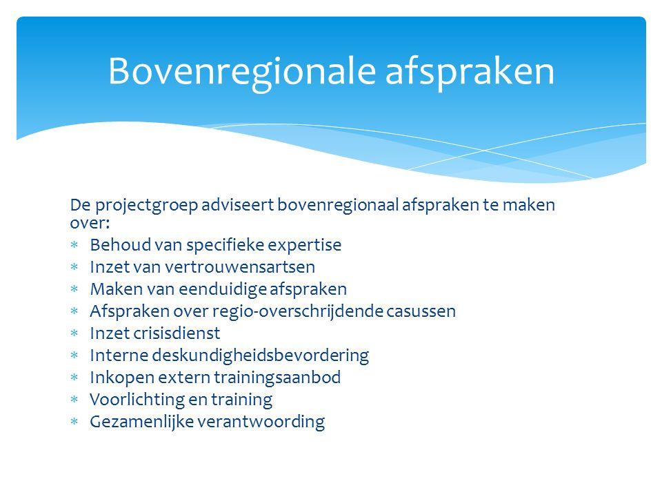  Start in 2014 met scenario 1 (outreachend werken)  Groei waar mogelijk door naar scenario 2 (AMHK gaat werken in gebiedsgerichte teams)  Kijk naar de lokale omstandigheden in de betreffende regio bij de mogelijke doorgroei  Situeer in iedere veiligheidsregio een AMHK (dus drie in totaal) Keuze scenario
