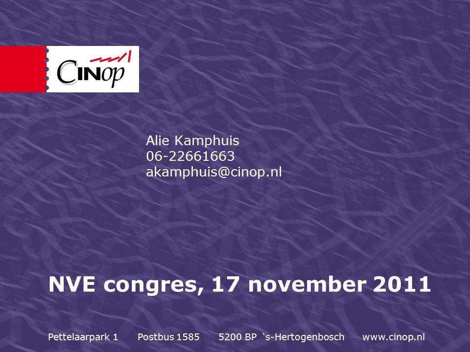 NVE congres, 17 november 2011 Alie Kamphuis 06-22661663 akamphuis@cinop.nl Pettelaarpark 1 Postbus 1585 5200 BP 's-Hertogenbosch www.cinop.nl