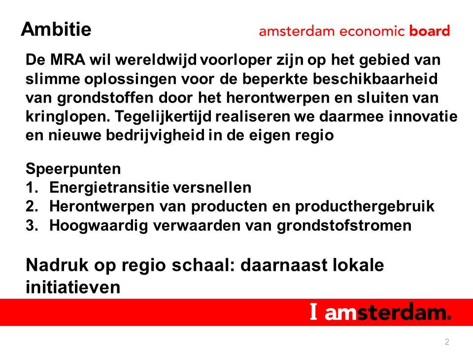 Ambitie 2 De MRA wil wereldwijd voorloper zijn op het gebied van slimme oplossingen voor de beperkte beschikbaarheid van grondstoffen door het herontwerpen en sluiten van kringlopen.