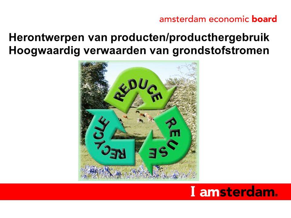 Refuse Reduce Re-use Repair Refurbish Remanufacture Re-purpose Redesign Recycle Recover (energy) Hoog Niveaus van circulariteit (10 R's) Laag