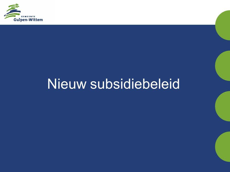 Nieuw subsidiebeleid