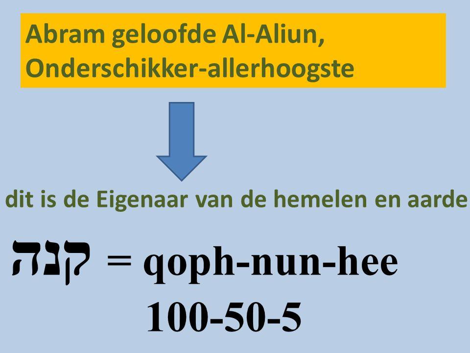 Abram geloofde Al-Aliun, Onderschikker-allerhoogste dit is de Eigenaar van de hemelen en aarde קנה = qoph-nun-hee 100-50-5