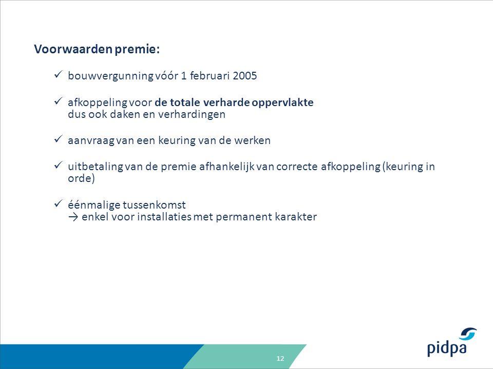 12 Voorwaarden premie: bouwvergunning vóór 1 februari 2005 afkoppeling voor de totale verharde oppervlakte dus ook daken en verhardingen aanvraag van