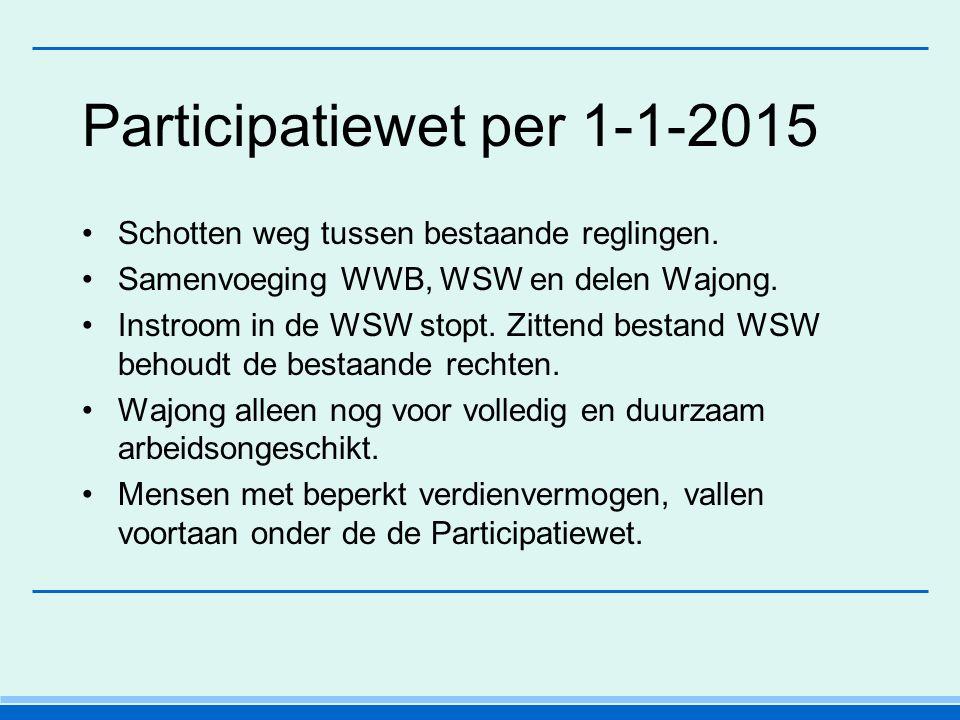 Participatiewet per 1-1-2015 Schotten weg tussen bestaande reglingen.