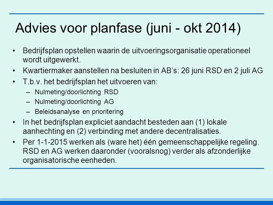 Advies voor planfase (juni - okt 2014) Bedrijfsplan opstellen waarin de uitvoeringsorganisatie operationeel wordt uitgewerkt.