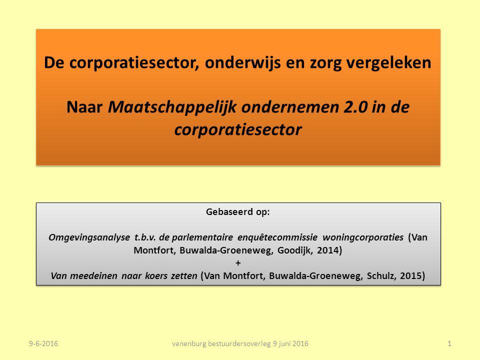 De corporatiesector, onderwijs en zorg vergeleken Naar Maatschappelijk ondernemen 2.0 in de corporatiesector Gebaseerd op: Omgevingsanalyse t.b.v.