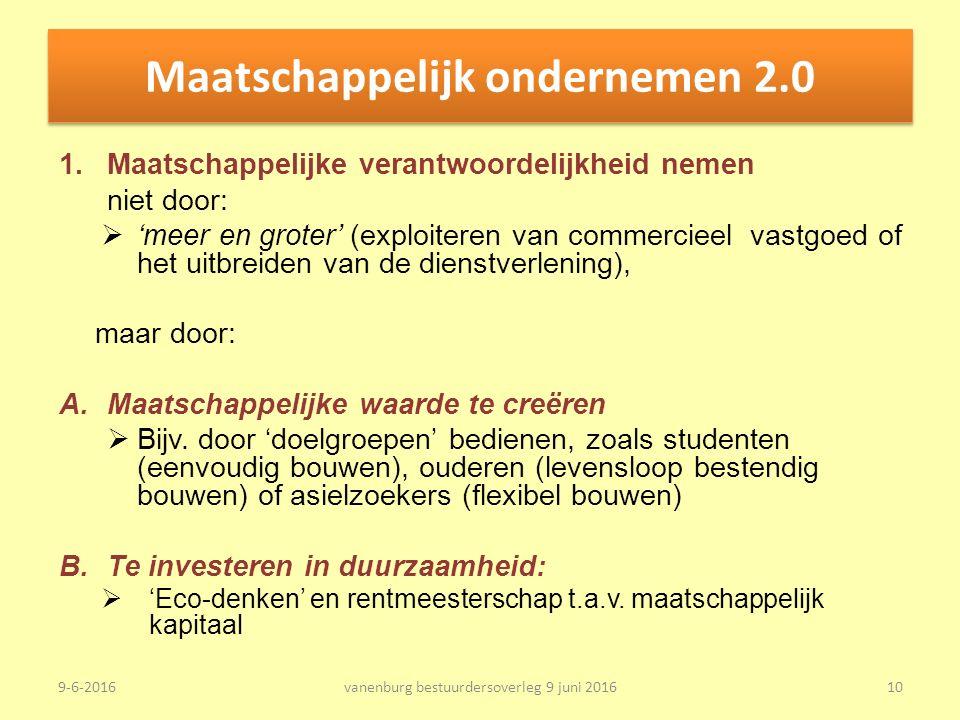 Maatschappelijk ondernemen 2.0 1.Maatschappelijke verantwoordelijkheid nemen niet door:  'meer en groter' (exploiteren van commercieel vastgoed of het uitbreiden van de dienstverlening), maar door: A.Maatschappelijke waarde te creëren  Bijv.