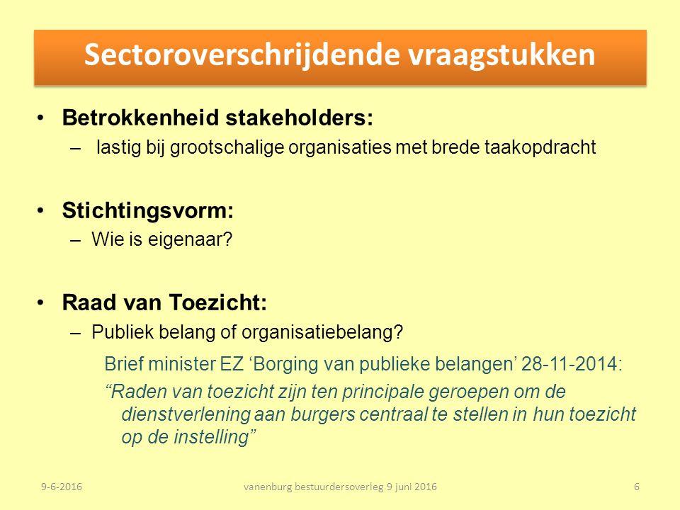 Sectoroverschrijdende vraagstukken Betrokkenheid stakeholders: – lastig bij grootschalige organisaties met brede taakopdracht Stichtingsvorm: –Wie is eigenaar.