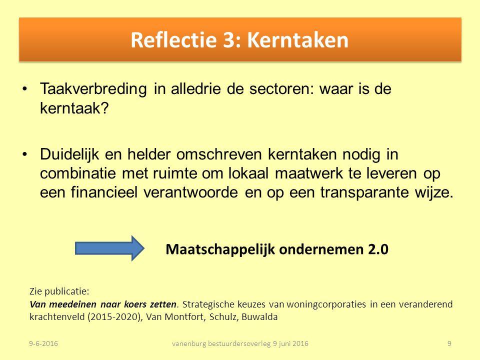 Reflectie 3: Kerntaken Taakverbreding in alledrie de sectoren: waar is de kerntaak.